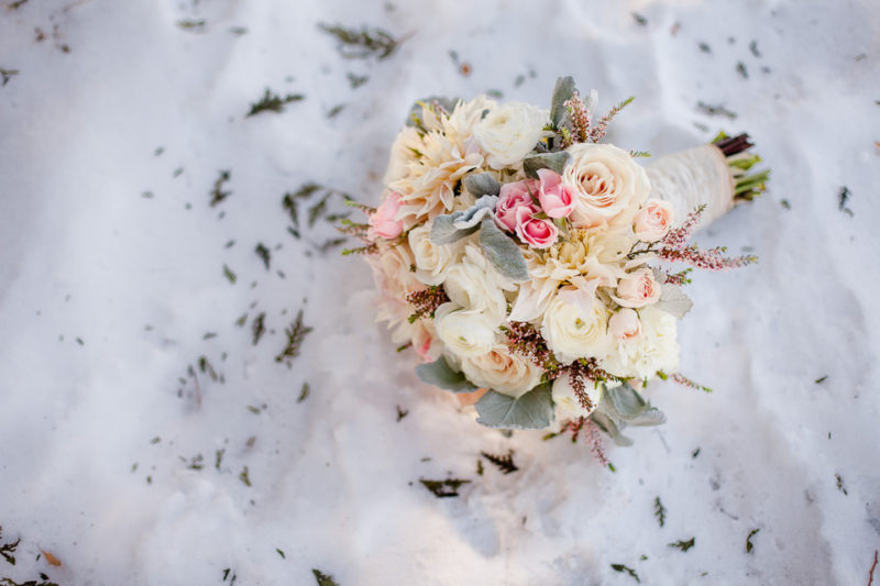 Bridal bouquet, soft neutrals with pops of pink