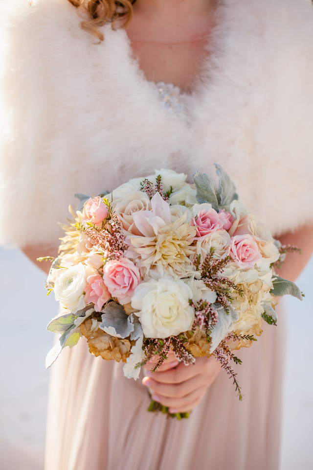 Bridal bouquet neutrals with pops of pink