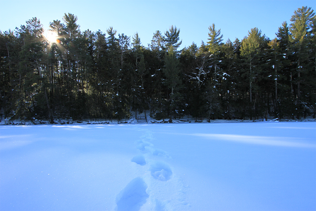 Wisconsin northwoods photography, snow covered lake.