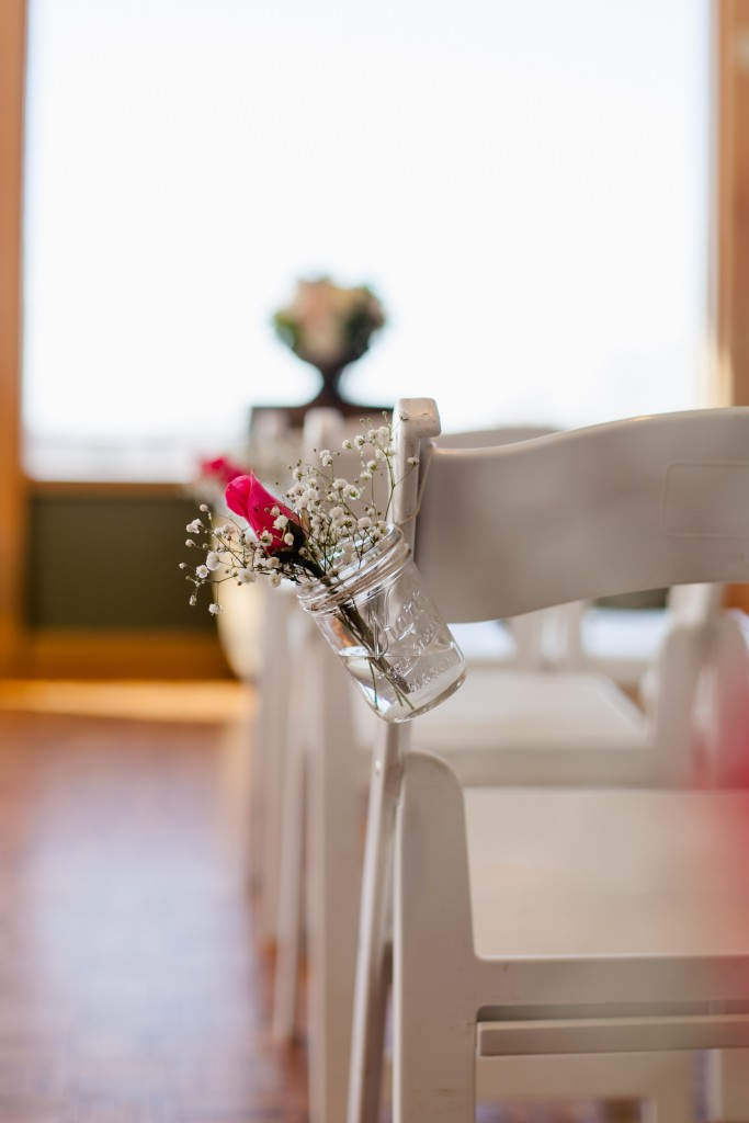 Wedding Ceremony Chairs Flowers in Mason Jars