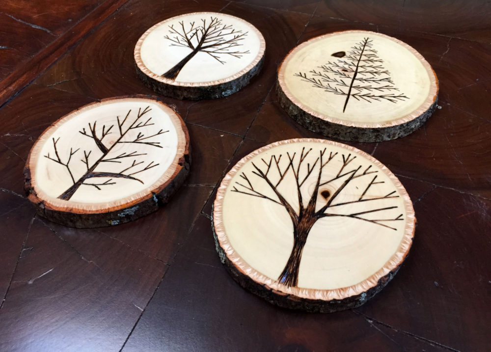 Wood burned coasters with trees - easy one day DIY project | Melissa Lynch | melissalynch.com