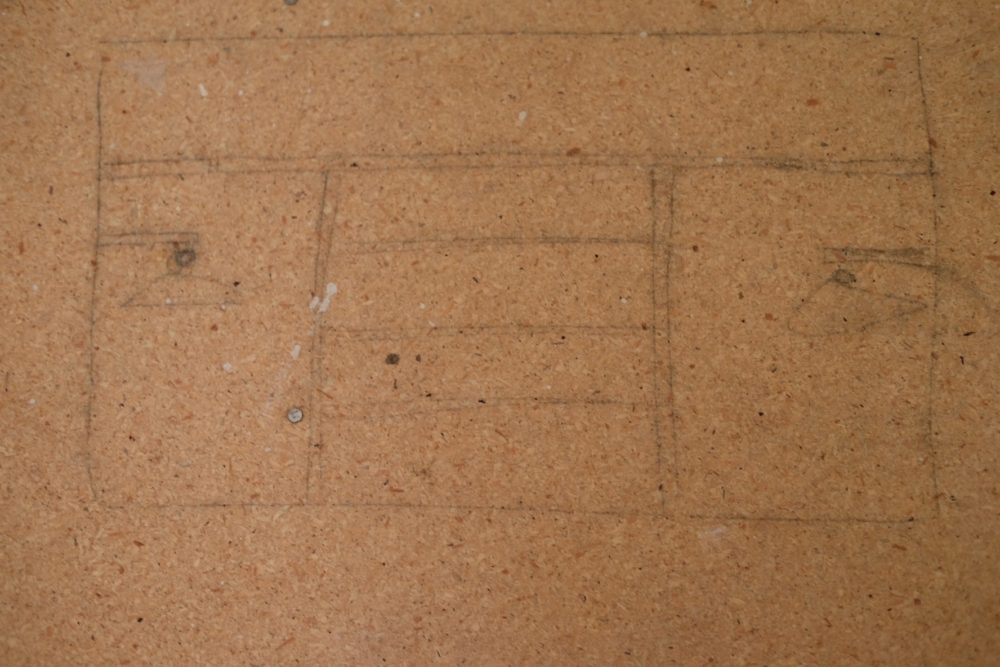 After ripping out the carpet we found that they drew the closet design on the subfloor.