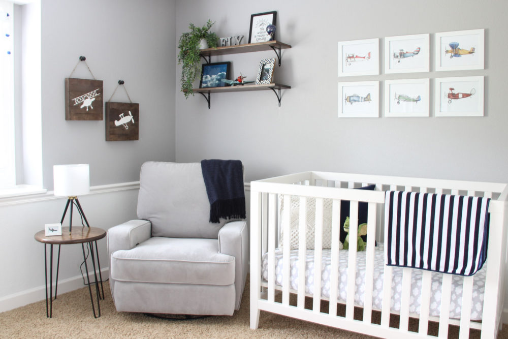 Baby boy airplane nursery | Melissa Lynch | melissalynch.com
