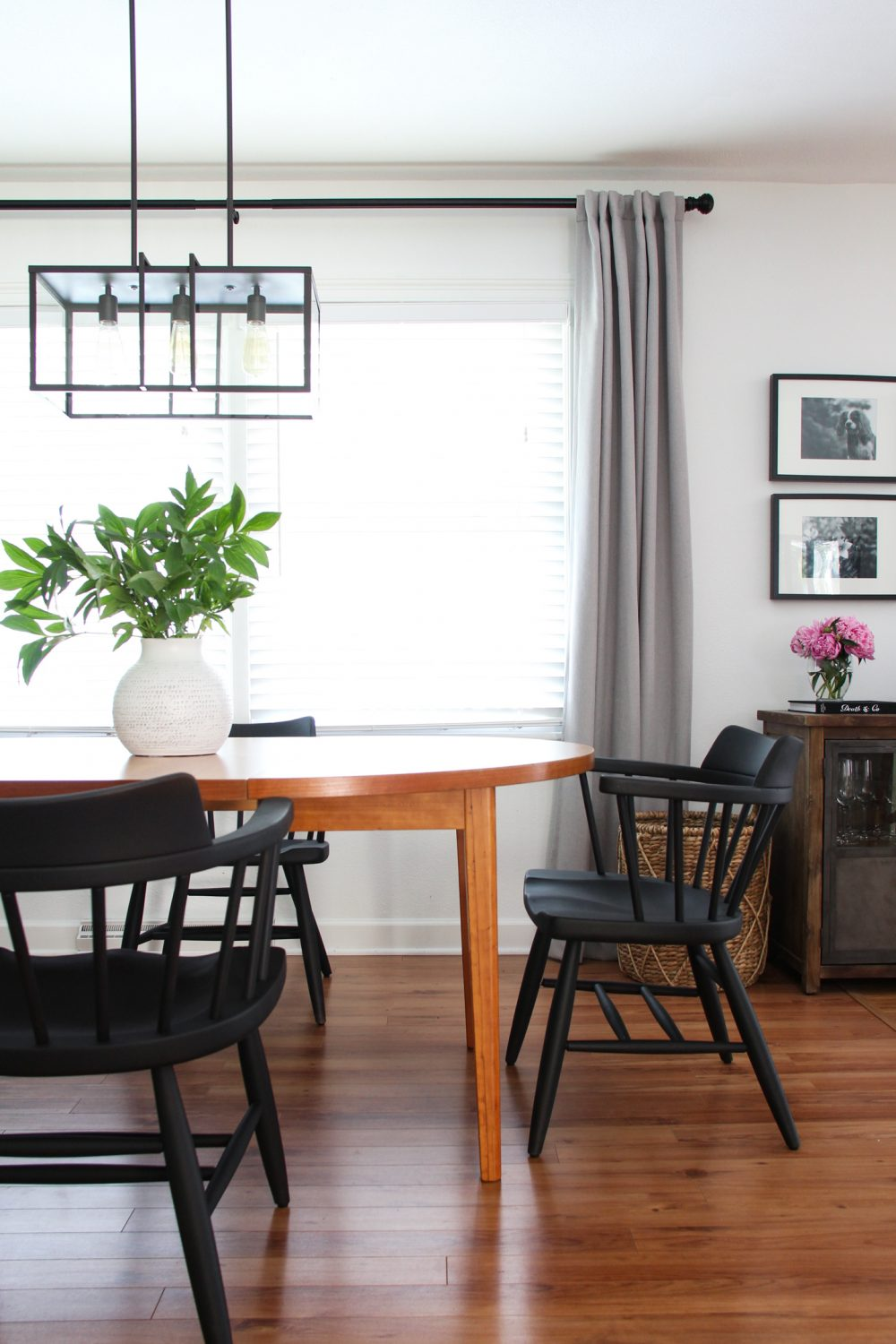 Black spindle chairs in dining room | Lumber Loves Lace | lumberloveslace.com