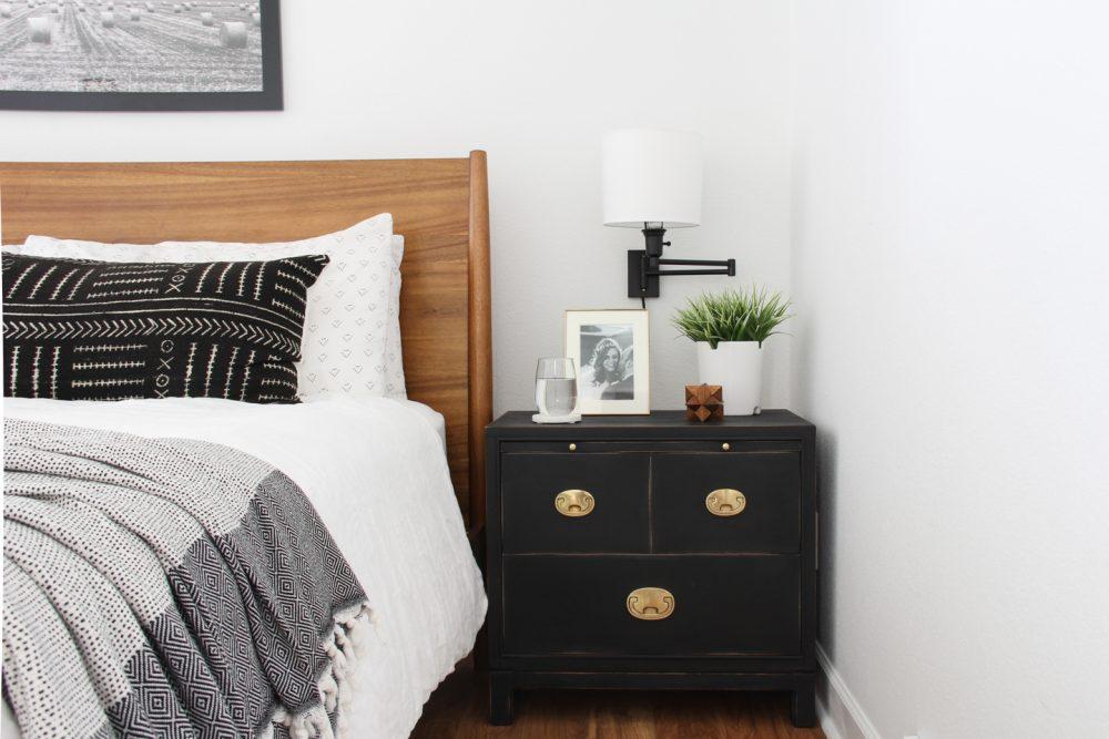 Painted black nightstand in master bedroom | Lumber Loves Lace | lumberloveslace.com