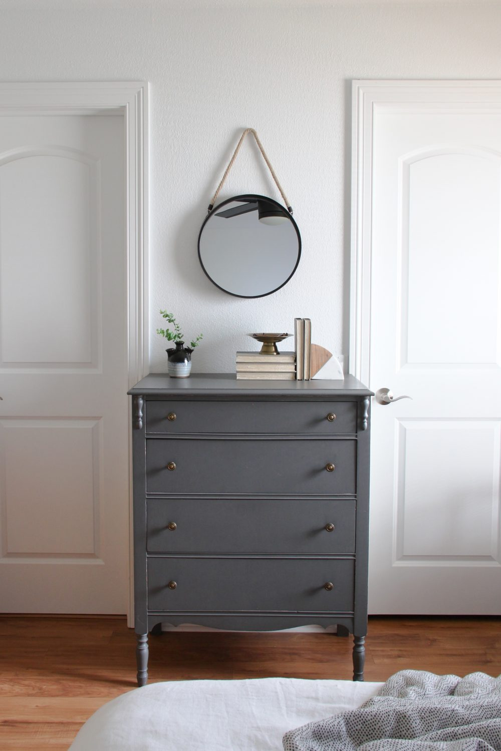 Vintage dresser with hanging mirror in master bedroom | Melissa Lynch | melissalynch.com