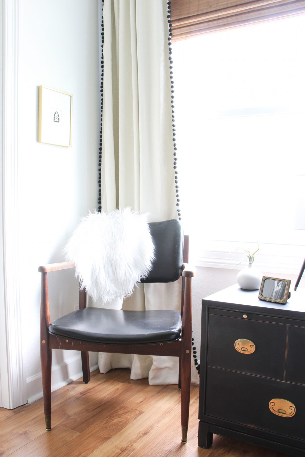 Mid-century side chair in master bedroom | Lumber Loves Lace | lumberloveslace.com