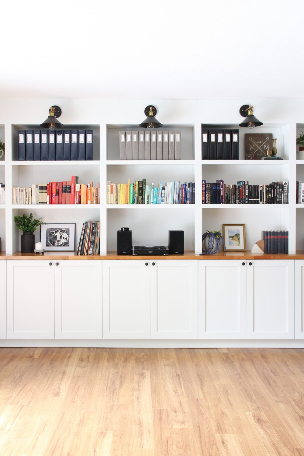 Built in bookshelves using IKEA cabinets | Melissa Lynch | melissalynch.com