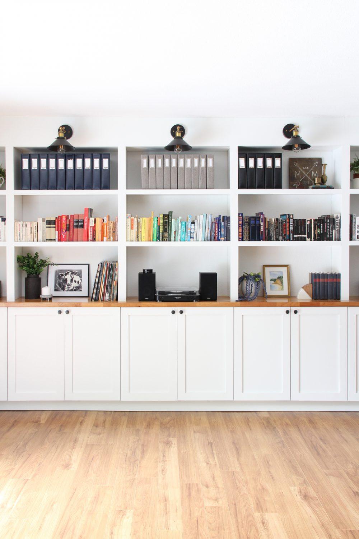 Built in bookshelves using IKEA cabinets | Lumber Loves Lace | lumberloveslace.com