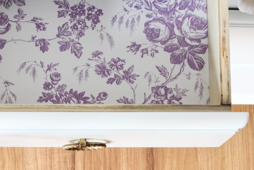 Purple floral drawer liner | Melissa Lynch | melissalynch.com