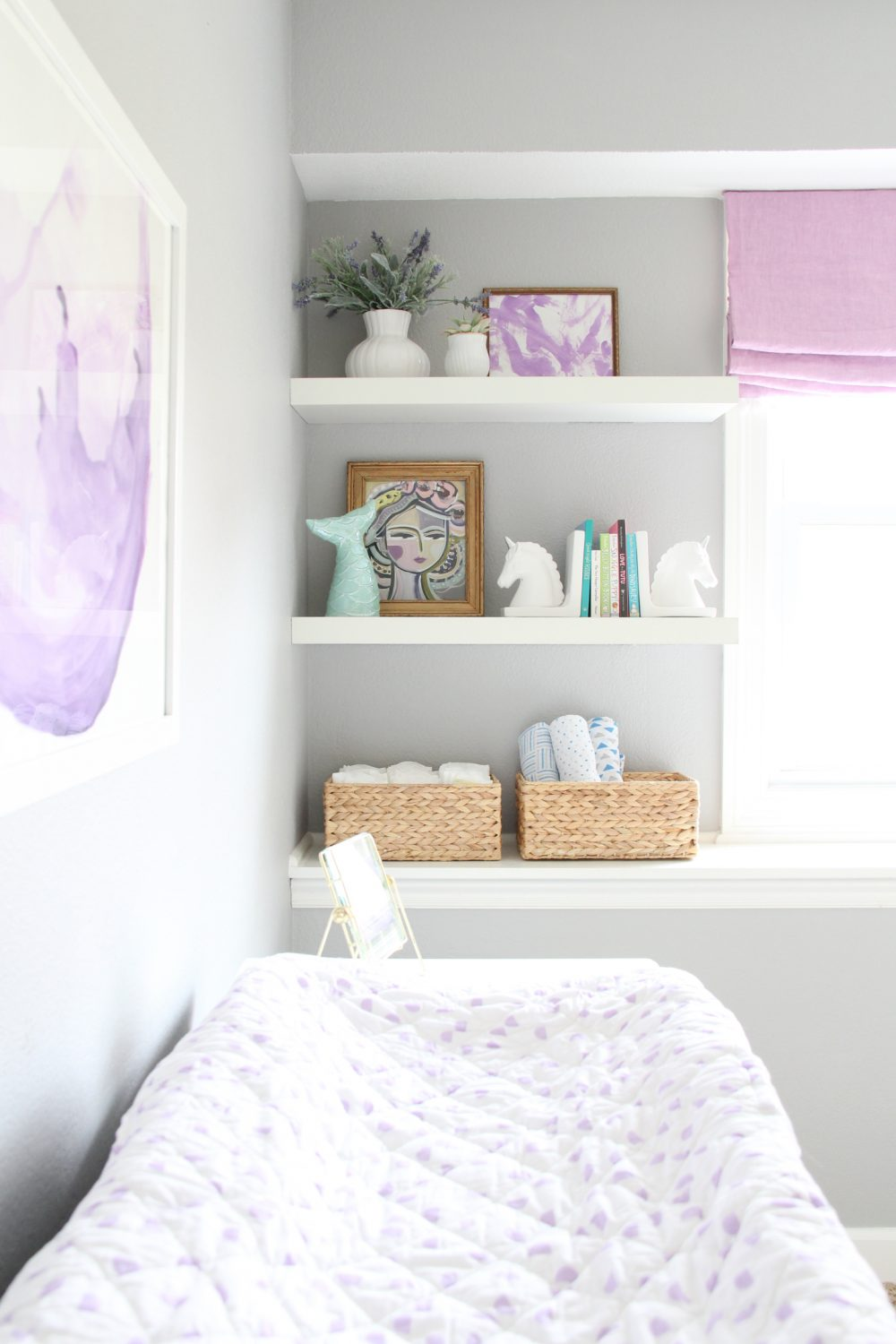 Baby girl nursery bookshelves | Melissa Lynch | melissalynch.com