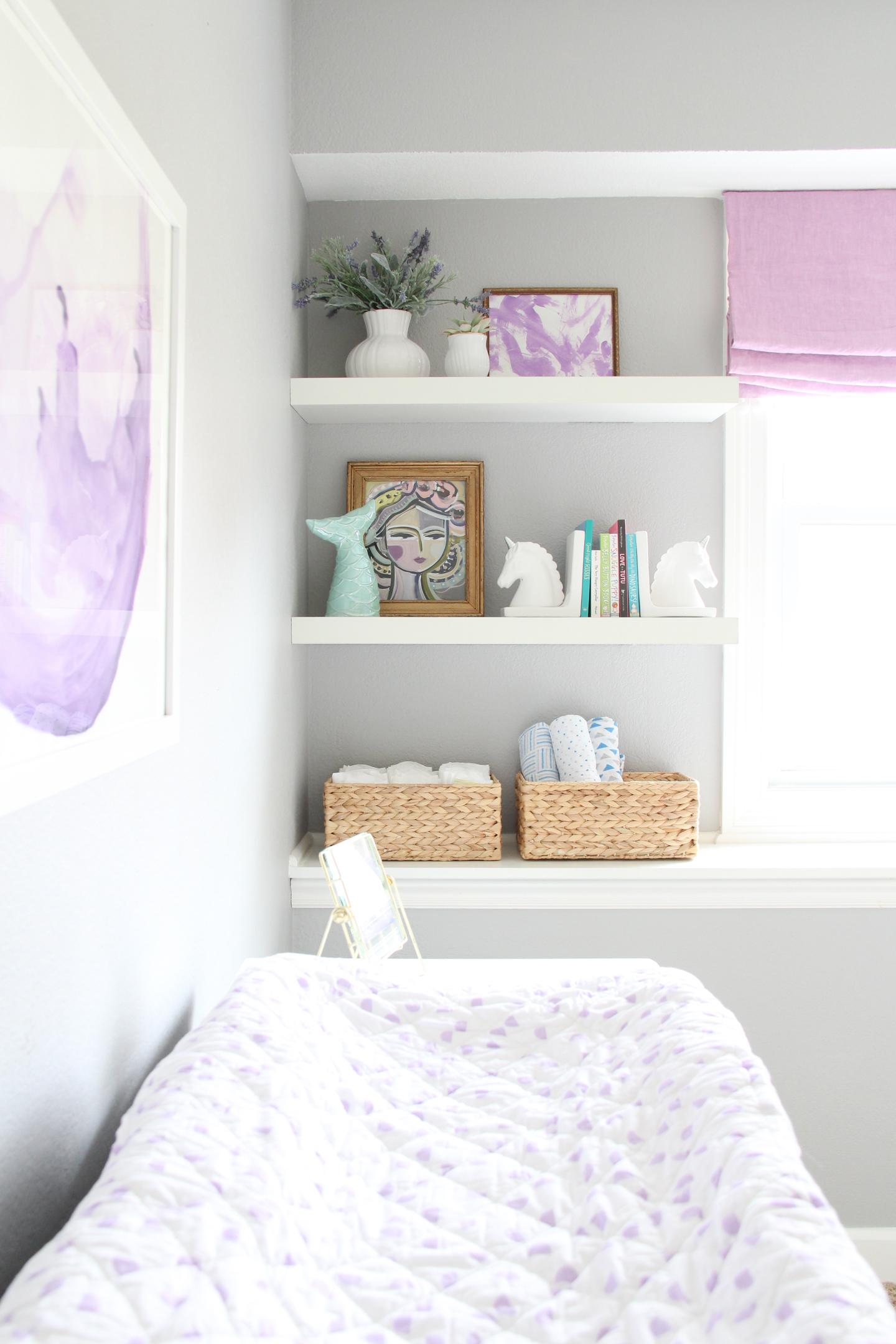 Baby girl nursery bookshelves | Melissa Lynch | melissalynch.com
