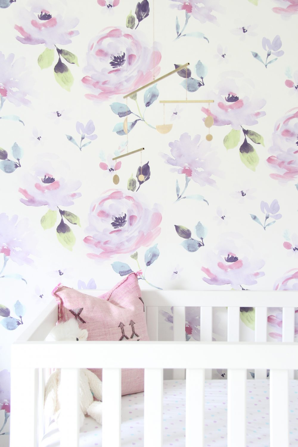 Brass mobile in baby girl purple floral  nursery | Melissa Lynch | melissalynch.com