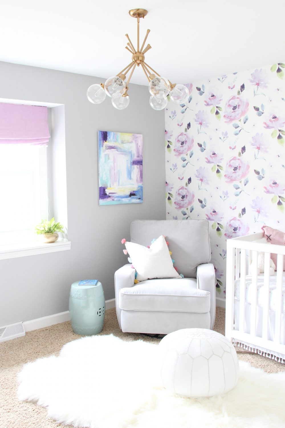 Baby girl purple floral nursery | Melissa Lynch | melissalynch.com