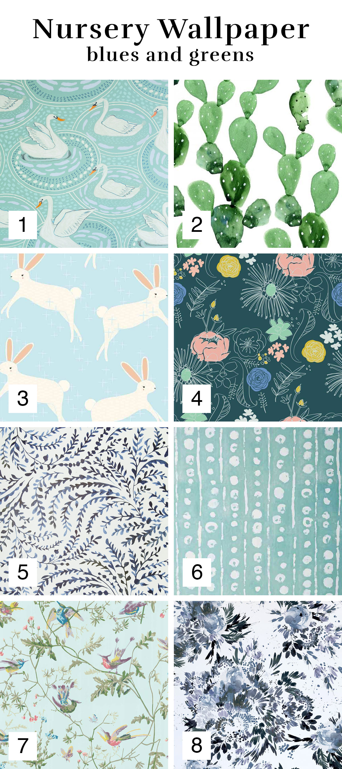 Blue and Green Wallpaper Inspiration Roundup for a Nursery or Girl's Room | Melissa Lynch | melissalynch.com