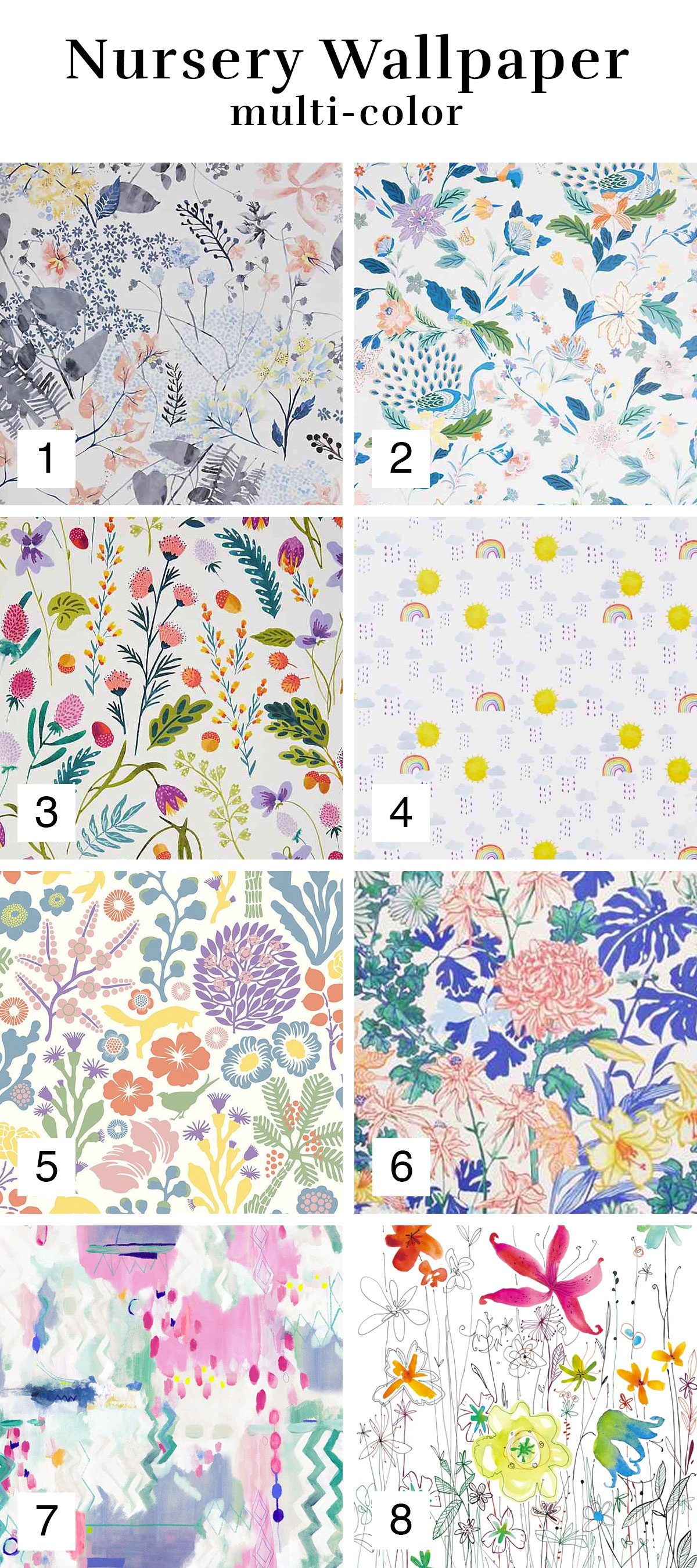 Multicolor Wallpaper Inspiration Roundup for a Nursery or Girl's Room | Melissa Lynch | melissalynch.com