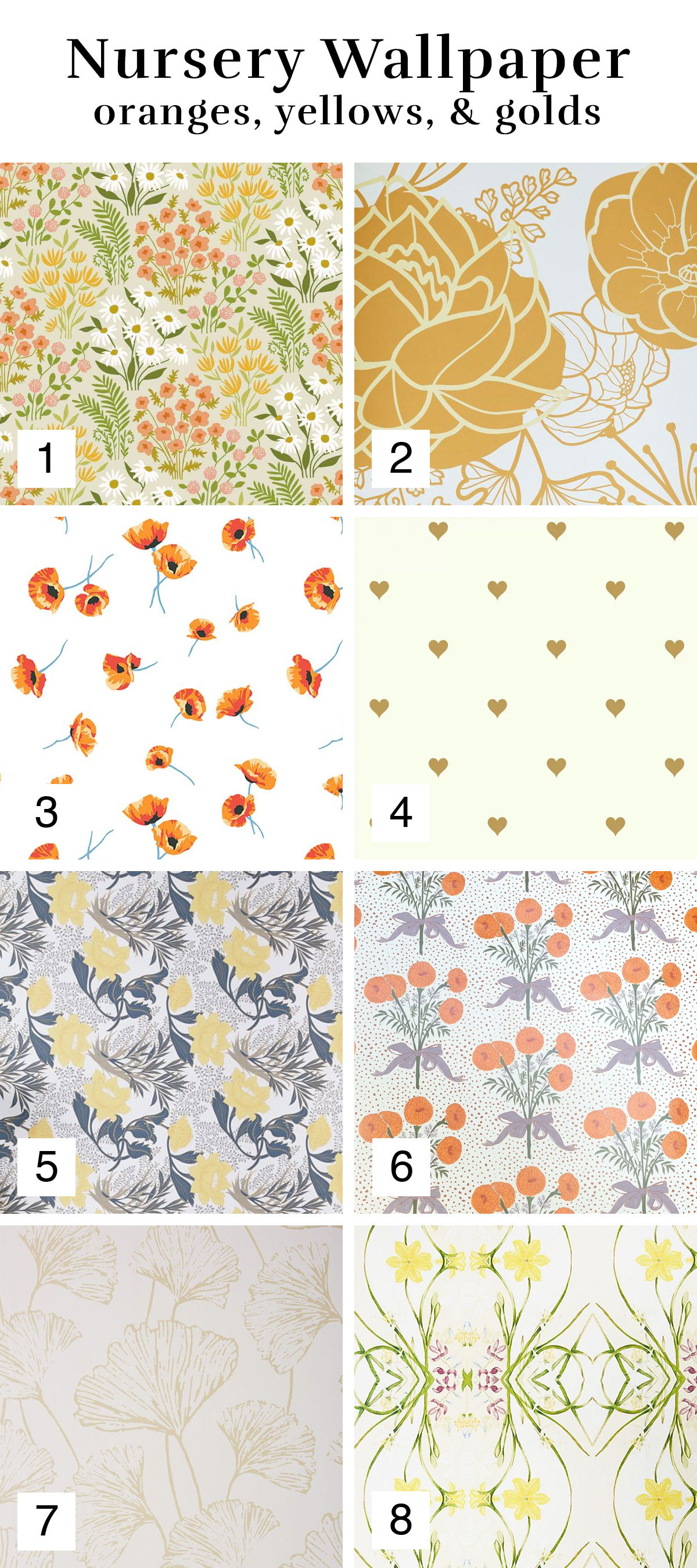 Orange, Yellow, & Gold Wallpaper Inspiration Roundup for a Nursery or Girl's Room | Melissa Lynch | melissalynch.com
